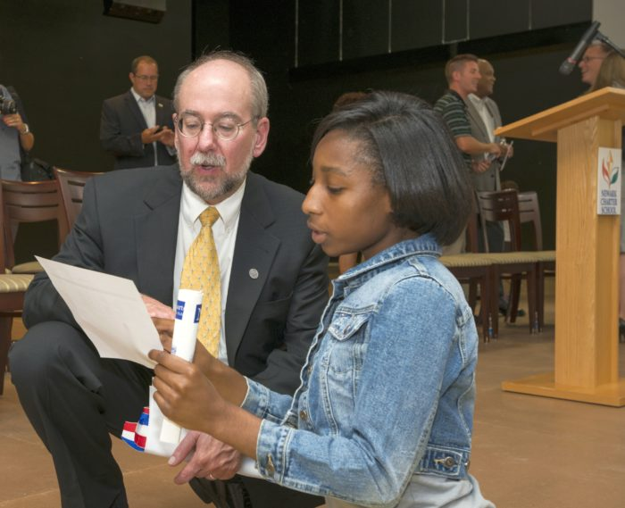 Greg Meece and student at ribbon cutting