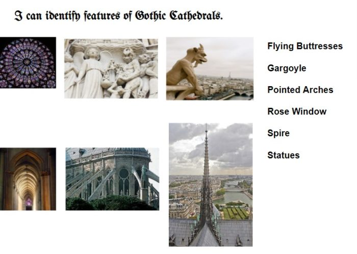 Features of Gothic cathedrals from class presentation