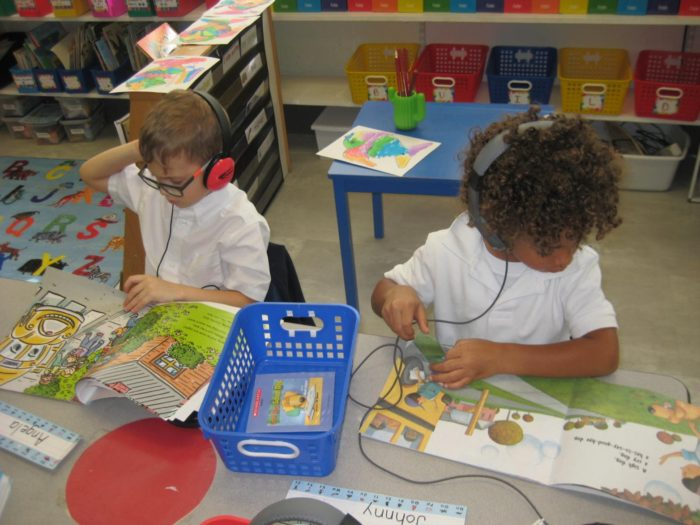 """Kindergarteners at Lyles-Crouch engaging in the """"Retell Center"""""""